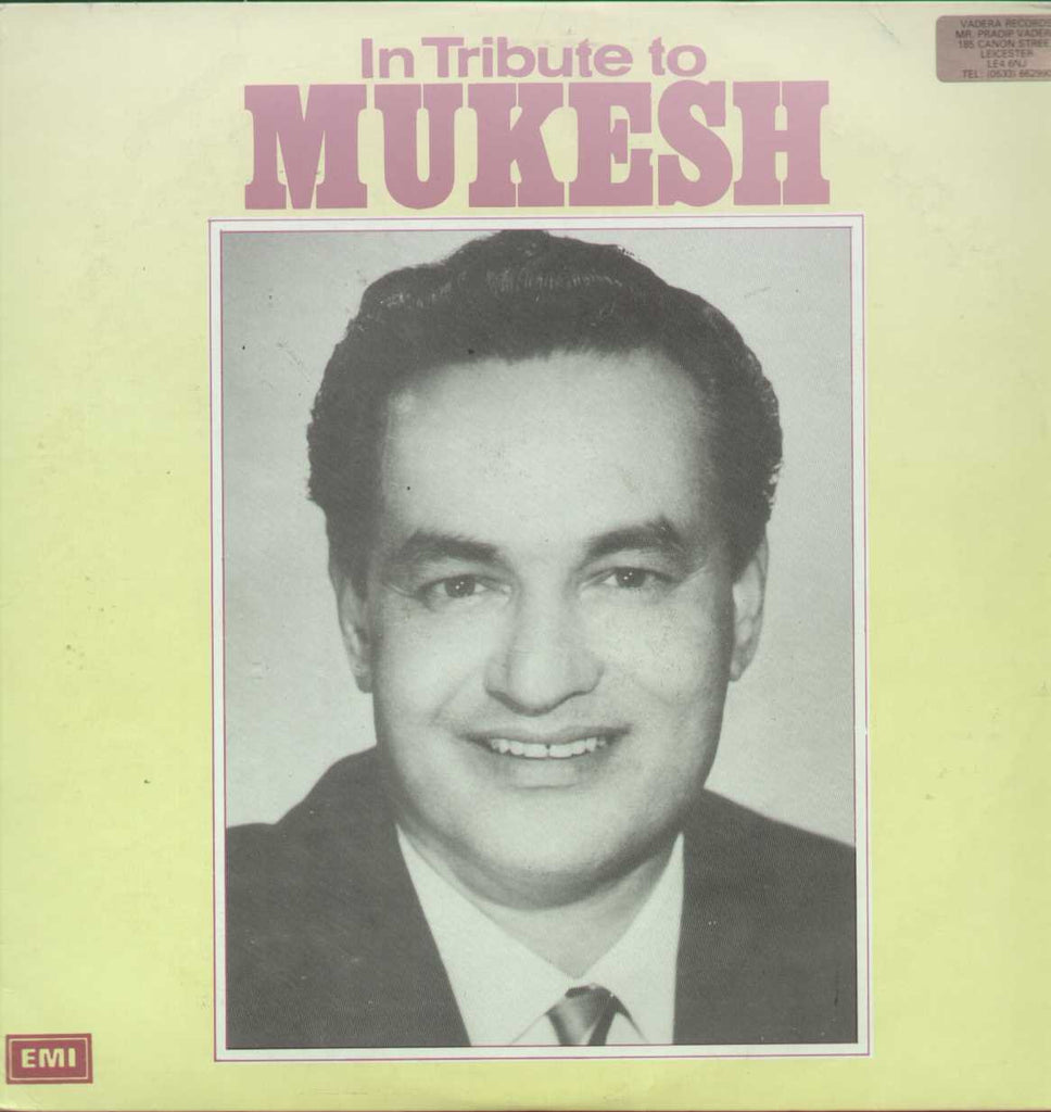 In Tribute to Mukesh LP Bollywood Vinyl LP