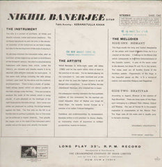 Nikhil Banerjee Sitar Bollywood Vinyl LP
