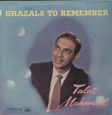 Ghazals To Remember Talat Mohamood Bollywood Vinyl LP