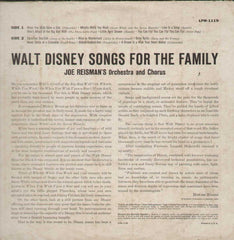 Walt Disney Songs For The Family Joe Reisman's Orchestra English Vinyl LP