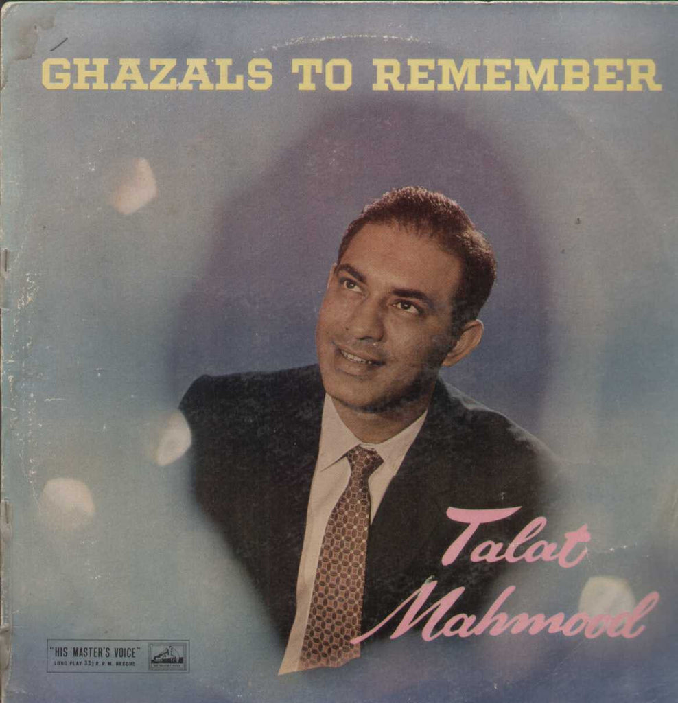Ghazals To Remember Talat Mahmood Bollywood Vinyl LP
