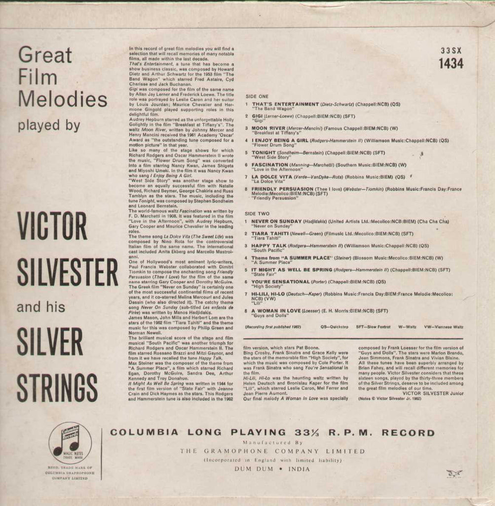 Great Film Melodies Played By Victor Silverster And His Silver Strings English Vinyl LP