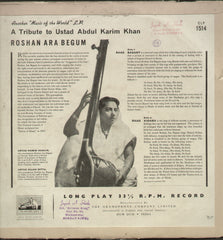 A Tribute to Ustad Abdul karim Khan - Classical Bollywood Vinyl LP