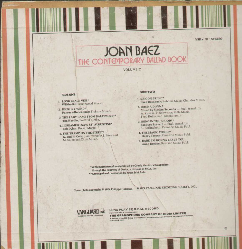 JOAN BAEZ THE CONTEMPORARY BALLAD BOOK GREATEST HITS English Vinyl LP
