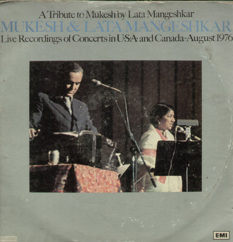 A Tribute To Mukesh By Lata Mangeshkar Live Recordings of Converts in USA and Canada August 1976 - Compilations Bollywood Vinyl LP - Dual LPs