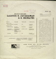 Lalgudi G. Jayaraman and G. Srimathi - Instrumental Bollywood Vinyl LP