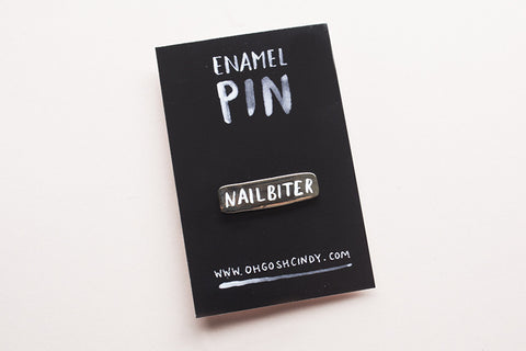 Nailbiter enamel lapel pin