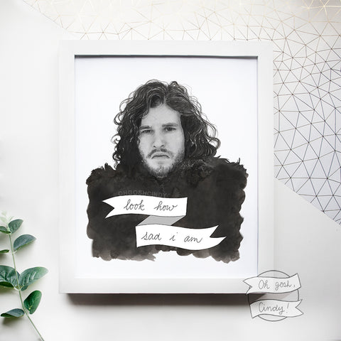 Sad Jon Snow print