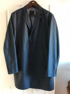 Hugo Boss Mens Water Repellent Mac Overcoat Navy Blue Rain Jacket
