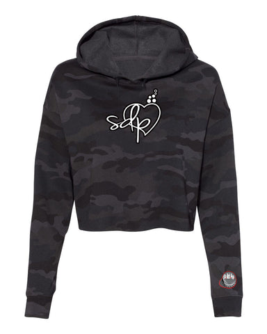 SDPLove Cropped Fleece Hoodie (Black Camo)