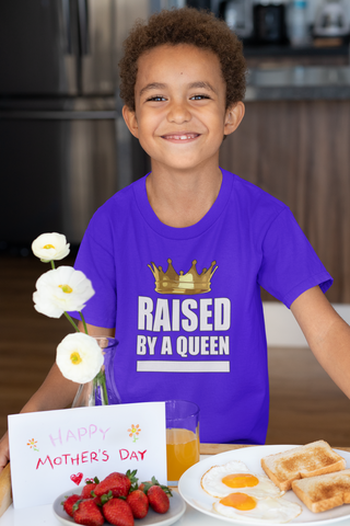 PopKids Raised By A Queen Boys Tees