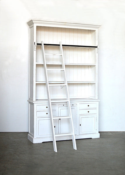 Libreria con scala shabby chic in rovere massello stile for Scala in legno shabby