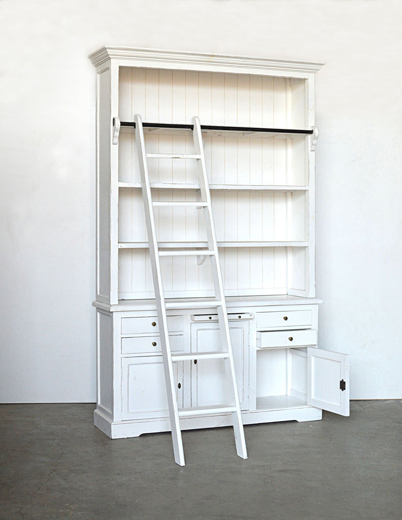 Libreria con scala shabby chic in rovere massello stile for Libreria on line
