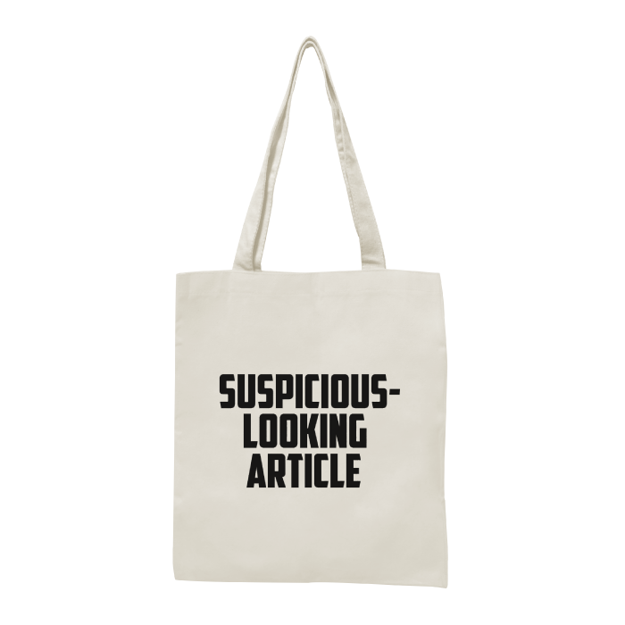 suspicious-looking article tote