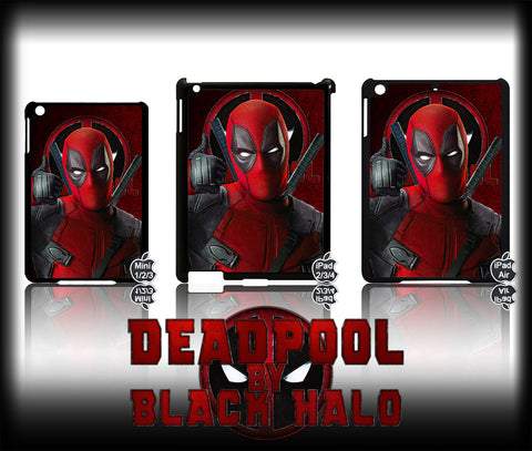 MARVEL'S DEADPOOL CASE/COVER FOR CHOICE OF  APPLE IPAD 2/3/4, AIR &  MINI #1 - Black Halo Design