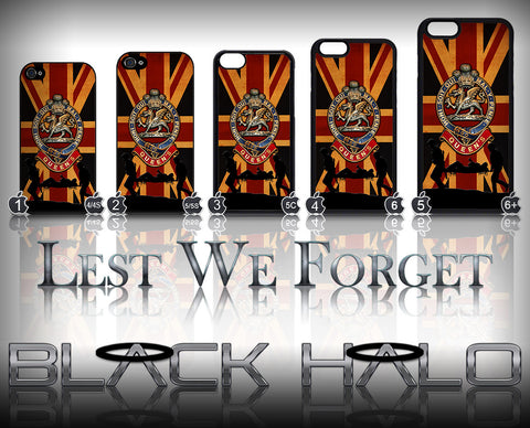 THE QUEENS REGIMENT UNION JACK ★ CASE/COVER FOR  APPLE IPHONE 4,4S,5,5S,5C,6 & 6 PLUS - Black Halo Design