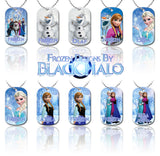 Choice of Disneys Frozen Double Sided Metal Pendant With Metal Ball Chain Necklace (Dog Tag) - Black Halo Design  - 1
