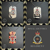 ★ CHOICE OF ROYAL AIR FORCE REGIMENT ★ DOG TAG NECKLACE/KEY RING/KEYRING/DOGTAG - Black Halo Design  - 1