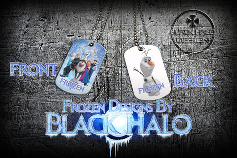 Disneys Frozen Double Sided Metal Pendant With Metal Ball Chain Necklace (Dog Tag) - Black Halo Design  - 1