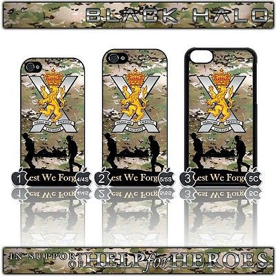 THE ROYAL REGIMENT OF SCOTLAND ★ COVER/CASE FOR  APPLE IPHONE 4/4S 5/5S & 5C  - Black Halo Design  - 1