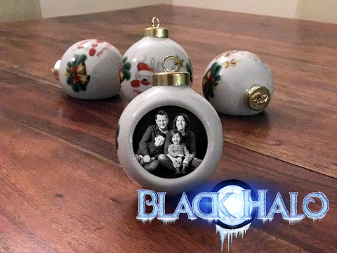 (NEW) Custom Personalised Christmas Bauble in Silver Glass or White Porcelain