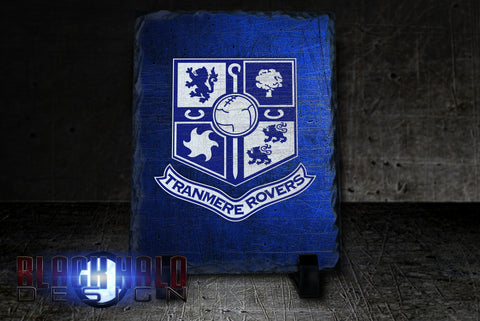 TRANMERE ROVERS RECTANGULAR NATURAL ROCK SLATE (CAN BE PERSONALISED) - Black Halo Design  - 1