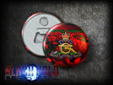 The Regiment of the Royal Artillery: Large 58mm Metal Bottle Opener Fridge Magnet - Black Halo Design  - 1