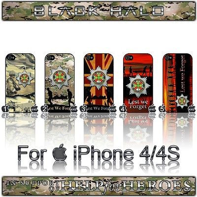 THE IRISH GUARDS COVER/CASE FOR APPLE IPHONE 4/4S IN SUPPORT OF HELP FOR HEROES - Black Halo Design  - 1