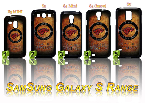 GAME OF THRONES: STARK RED WOLF CASE/COVER FOR SAMSUNG GALAXY S RANGE S3/S4/S5 - Black Halo Design