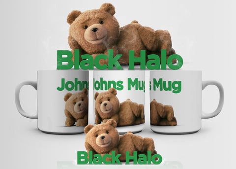 Ted (Name's) Mug Personalised 10oz Ceramic Mug #2 - Black Halo Design