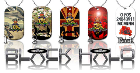 PERSONALISED: THE REGIMENT OF THE ROYAL ARTILLERY ★ DOG TAG NECKLACE/KEYRING #1 - Black Halo Design  - 1