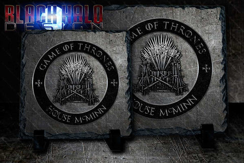 NEW: Game of Thrones Personalised Natural Rock Slate with Stands - Black Halo Design