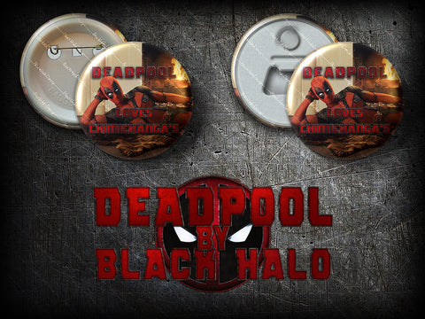 Deadpool: Large 58mm Metal Pin Badge or Magnet #chimichanga - Black Halo Design