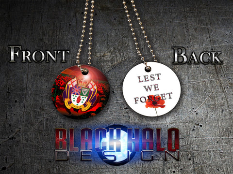 THE 36TH ULSTER DIVISION: POPPY: LEST WE FORGET★ UK STYLE ID DISC/DOG TAG NECKLACE/KEYRING (SOMME) - Black Halo Design