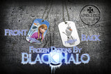 Choice of Disneys Frozen Double Sided Metal Pendant With Metal Ball Chain Necklace (Dog Tag) - Black Halo Design  - 11