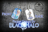 Choice of Disneys Frozen Double Sided Metal Pendant With Metal Ball Chain Necklace (Dog Tag) - Black Halo Design  - 7