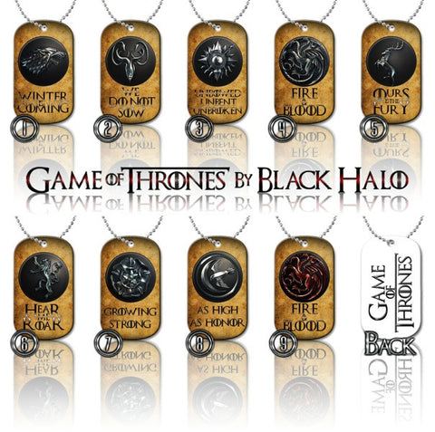 ★ CHOICE OF GAME OF THRONES ★ DOG TAG NECKLACE KEYRING/KEY CHAIN (DOGTAG) - Black Halo Design  - 1