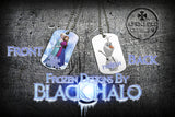 Choice of Disneys Frozen Double Sided Metal Pendant With Metal Ball Chain Necklace (Dog Tag) - Black Halo Design  - 3