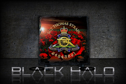 Customised: The Regiment Of The Royal Artillery Natural Rock Slate - Black Halo Design