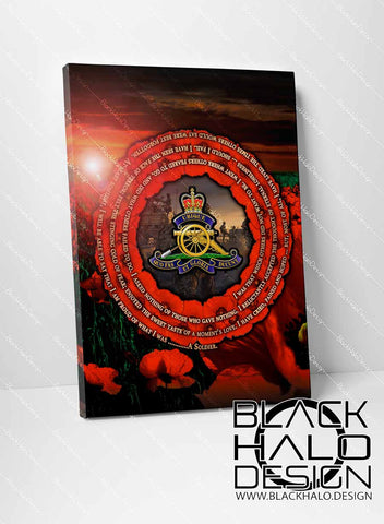 Royal Regiment of Artillery: A Soldiers Poem Remembrance Box Framed Canvas (Choice of Sizes)