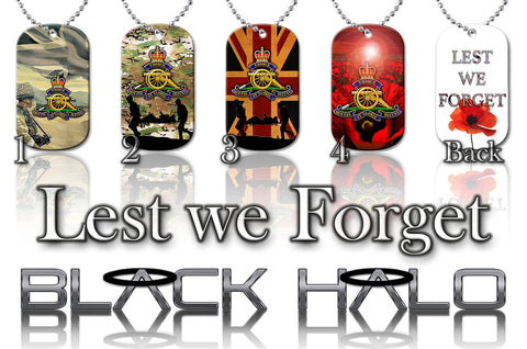 THE REGIMENT OF THE ROYAL ARTILLERY ★ DOG TAG NECKLACE/KEYRING #1 - Black Halo Design  - 1