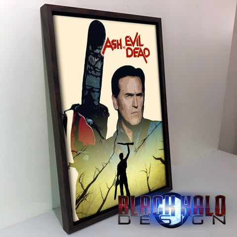 Ash VS Evil Dead Double Exposure Canvas with floating shadow frame in choice of sizes