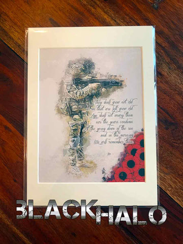 We Will Remember Them original artwork print in bespoke A4 picture frame mount