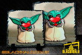 Star Wars Baby Yoda inspired artwork on Natural Causeway Rock Slate with Stands