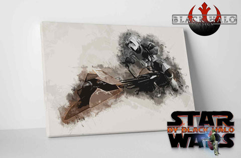 Star Wars: Biker Scout Timber Framed Canvas in choice of sizes