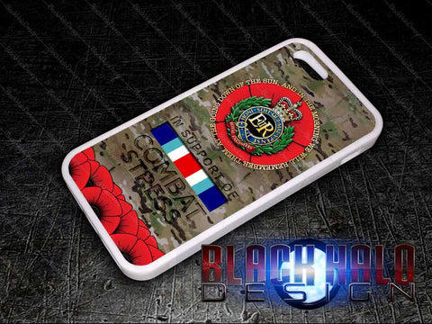 Royal Engineers: Multi-Cam Case/Cover for choice of Apple iPhone 4-6s Plus #In Support of Combat Stress - Black Halo Design