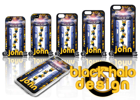 PERSONALISED MINIONS DR WHO ★ CASE/COVER FOR  APPLE IPHONE 4,4S,5,5S,5C,6 & 6 PLUS - Black Halo Design