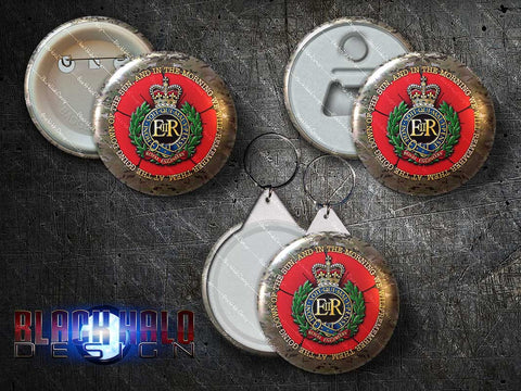 Royal Engineers (RE): Large 58mm Metal Pin Badge, Magnet Bottle Opener or Keyring - Black Halo Design