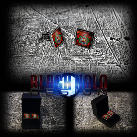 ROYAL ENGINEERS: POPPY FIELD (ARMY) METAL SQUARE CUFFLINKS(RE/SAPPERS/SOMME) - Black Halo Design