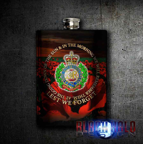 Royal Engineers Lest We Forget Stainless Steel 8oz Hip Flask